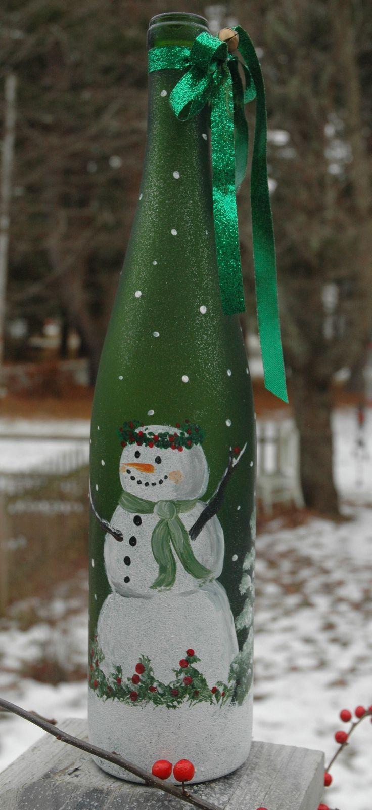 Декупаж бутылки шампанского на новый год со снеговиком