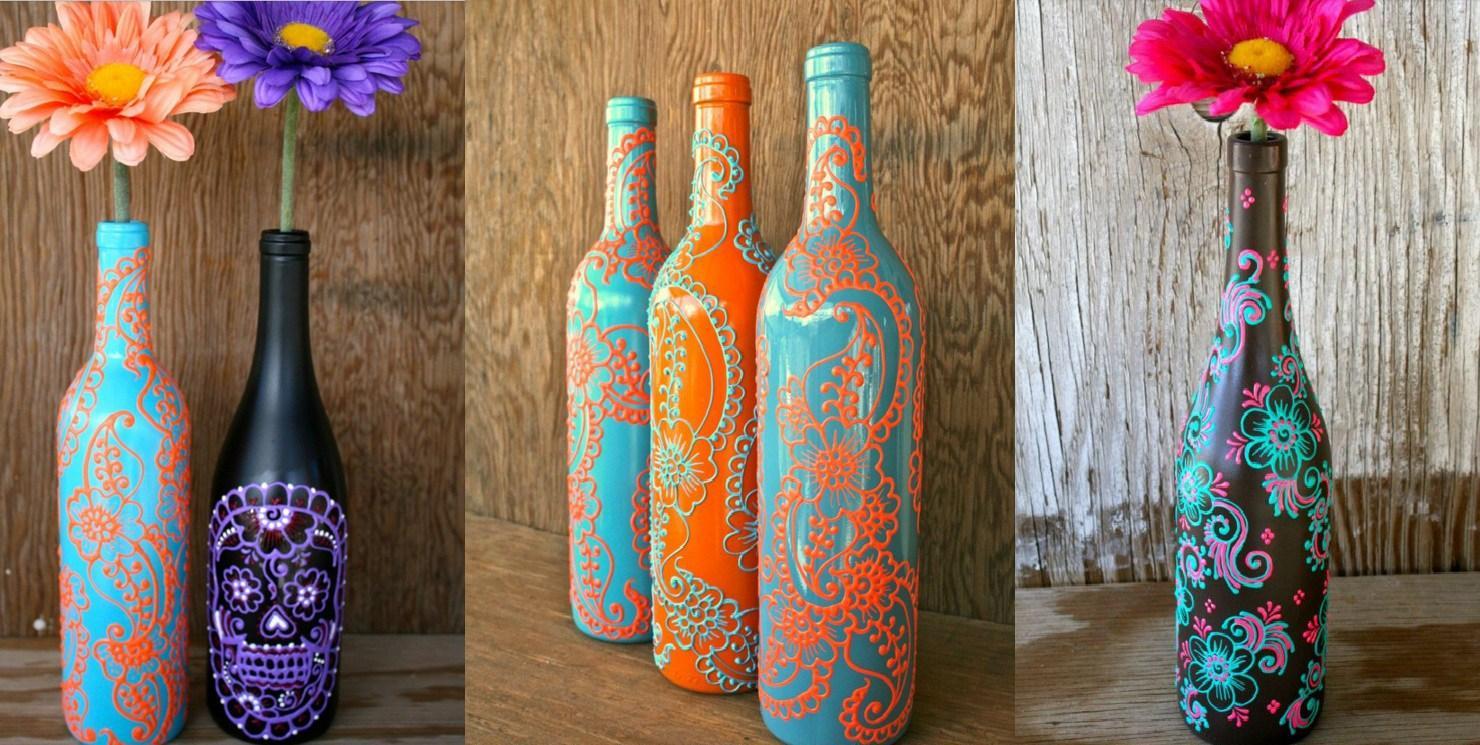 Украшение бутылок в стиле бохо