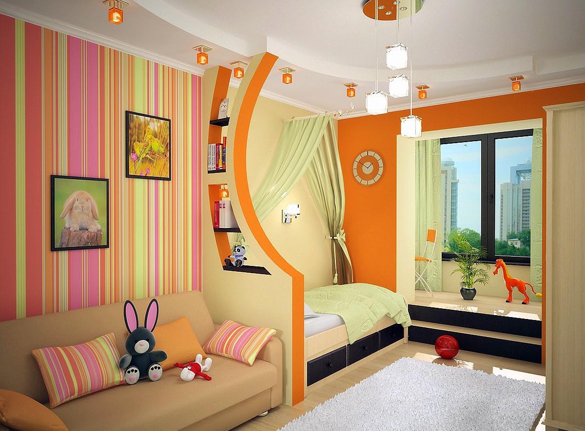Детская комната в хрущевке оранжевая
