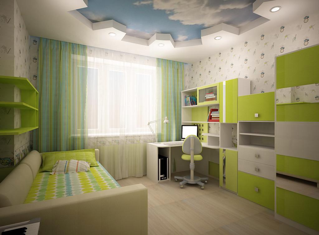 Детская комната в хрущевке зеленая