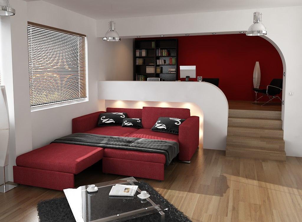 Выкатной красный диван