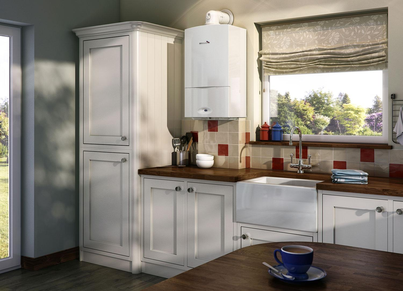 Коричнево-белый гарнитур на кухне