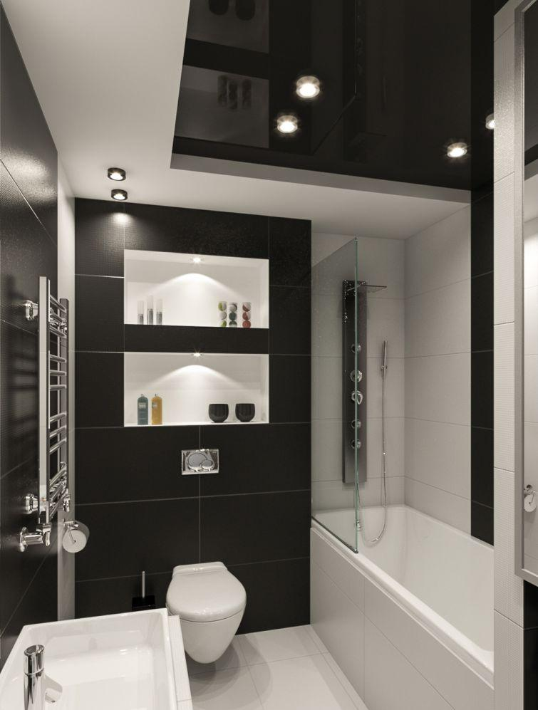 Черно-белая современная ванная комната