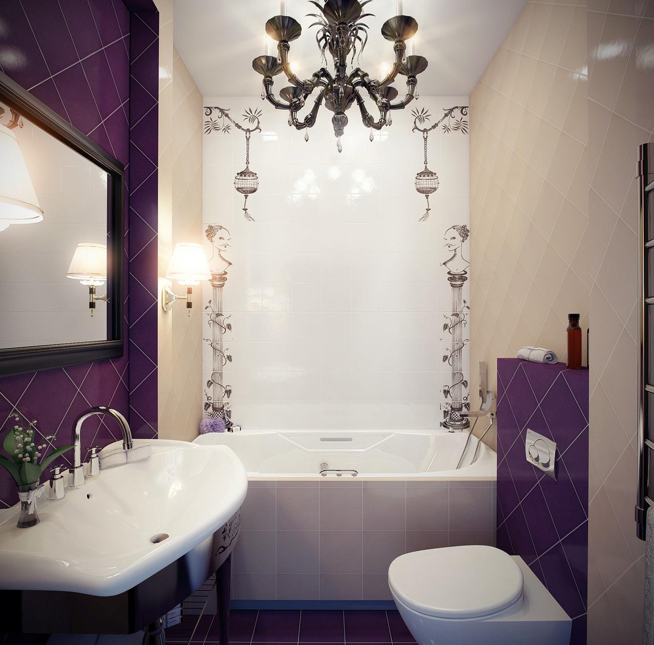 Фиолетово-бежевая отделка ванной комнаты