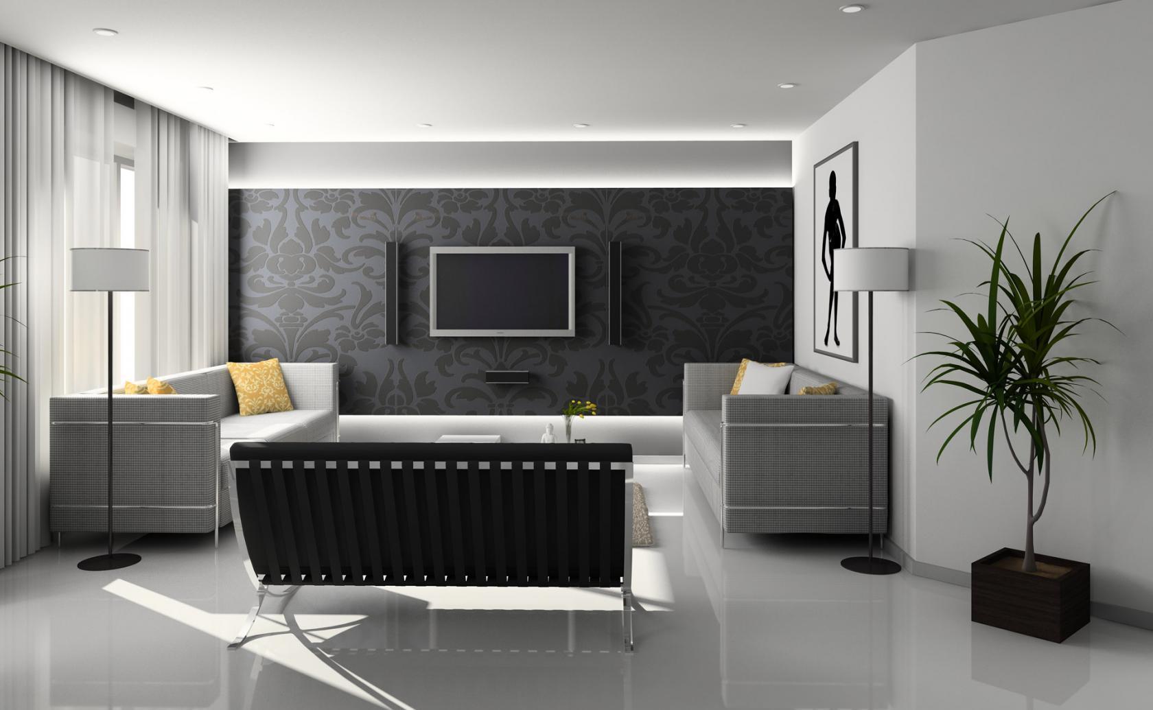 Черно-белая гостиная с черным и серыми диванами
