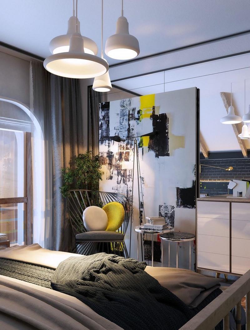 Спальня 14 кв.м. с декором