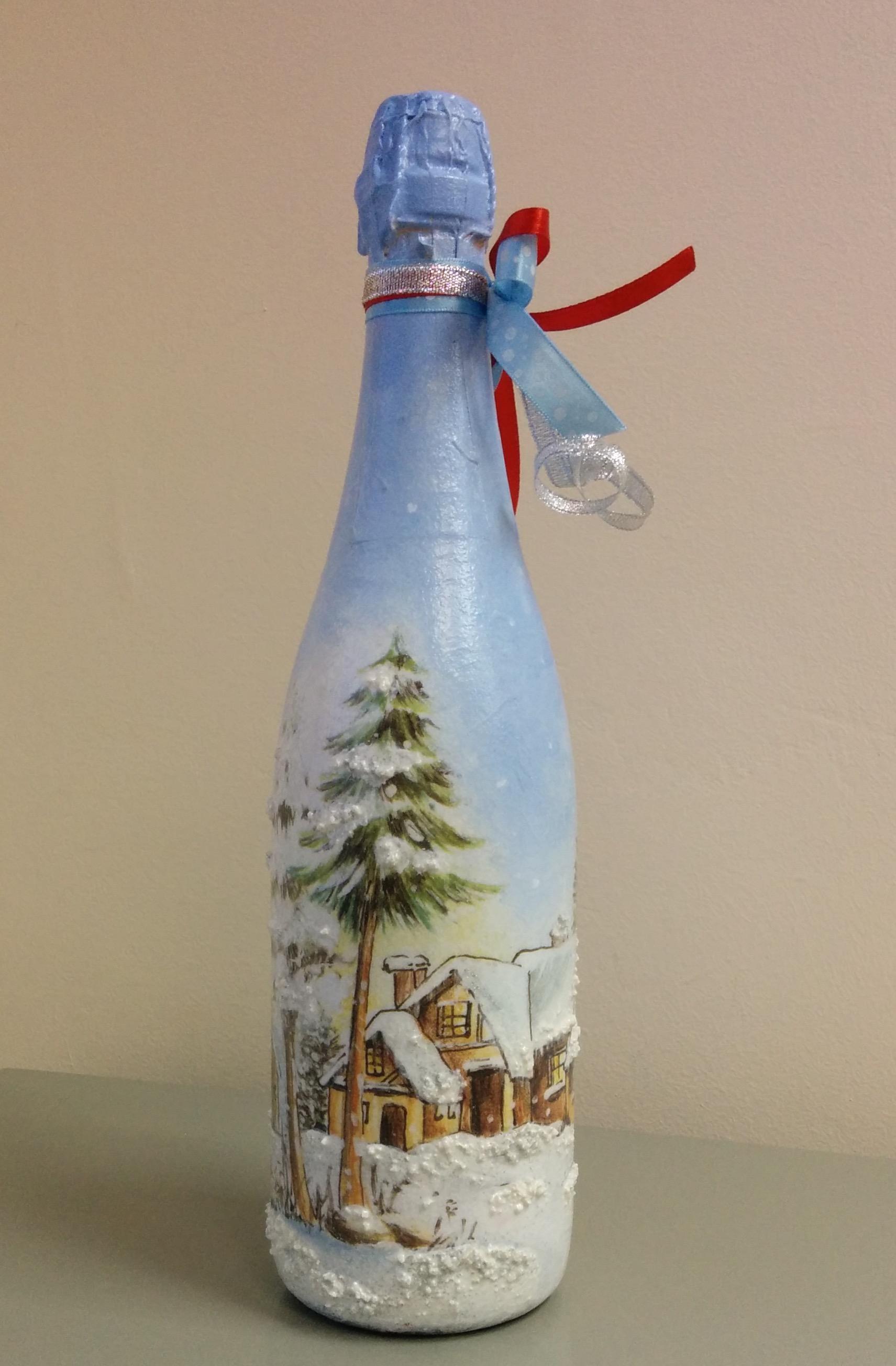 Новогодний декупаж бутылки шампанского объемный