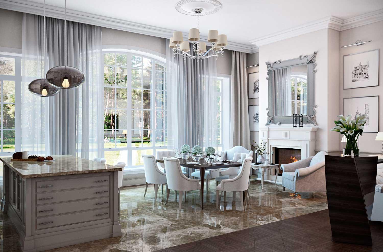 Серо-белая гостиная-кухня в классическом стиле