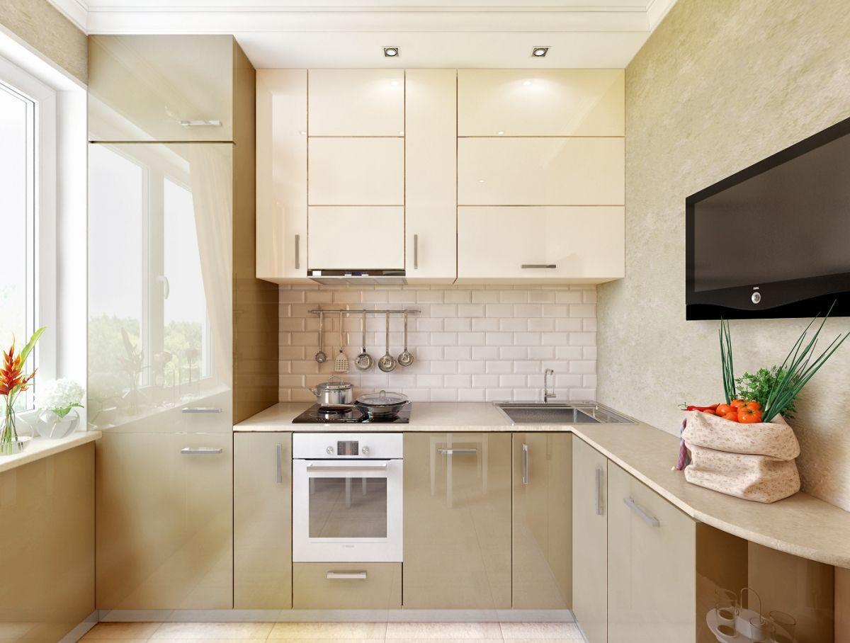 Кухня 8 кв м в бежевых тонах