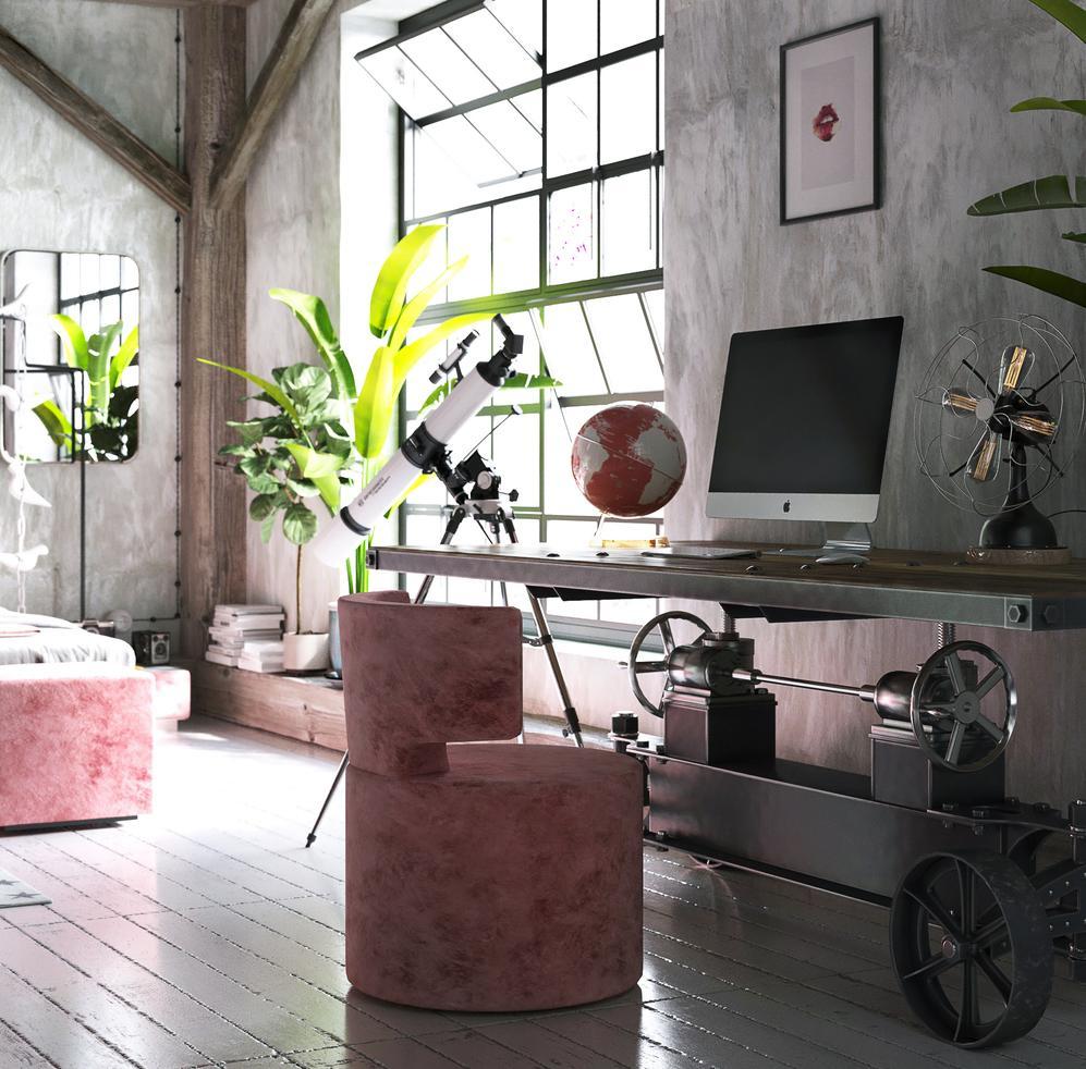 Розово-серый интерьер спальни