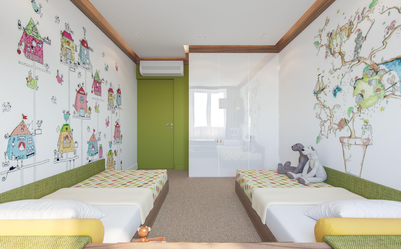 Детская комната в хрущевке с росписью