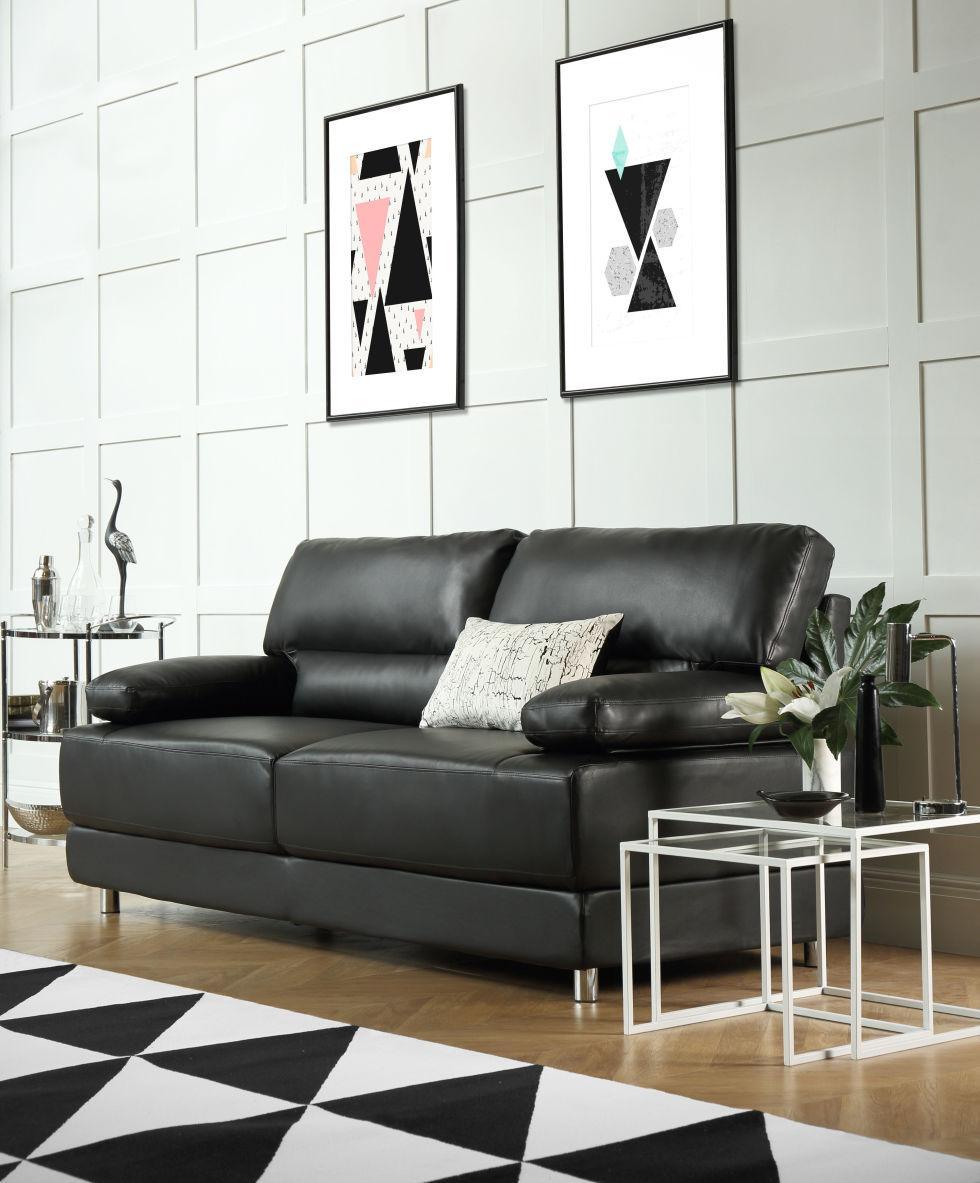 Черный пружинный диван