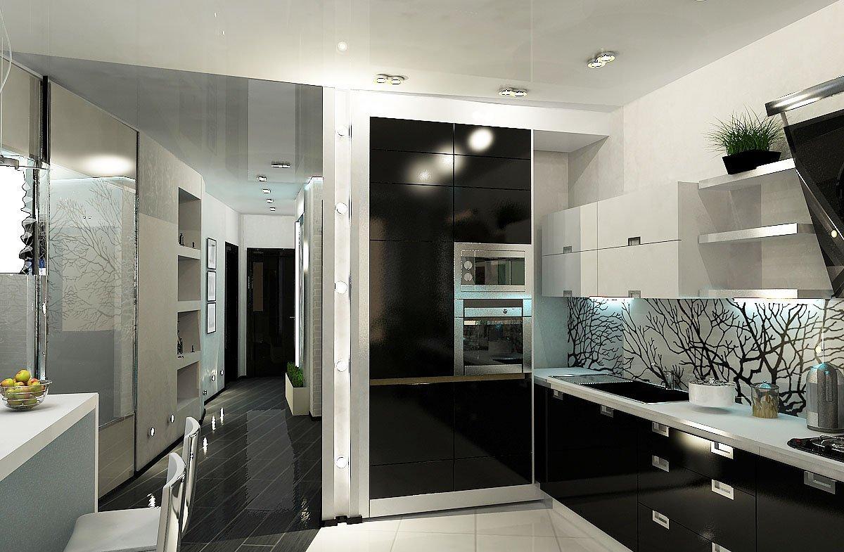 Модная черно-белая кухня