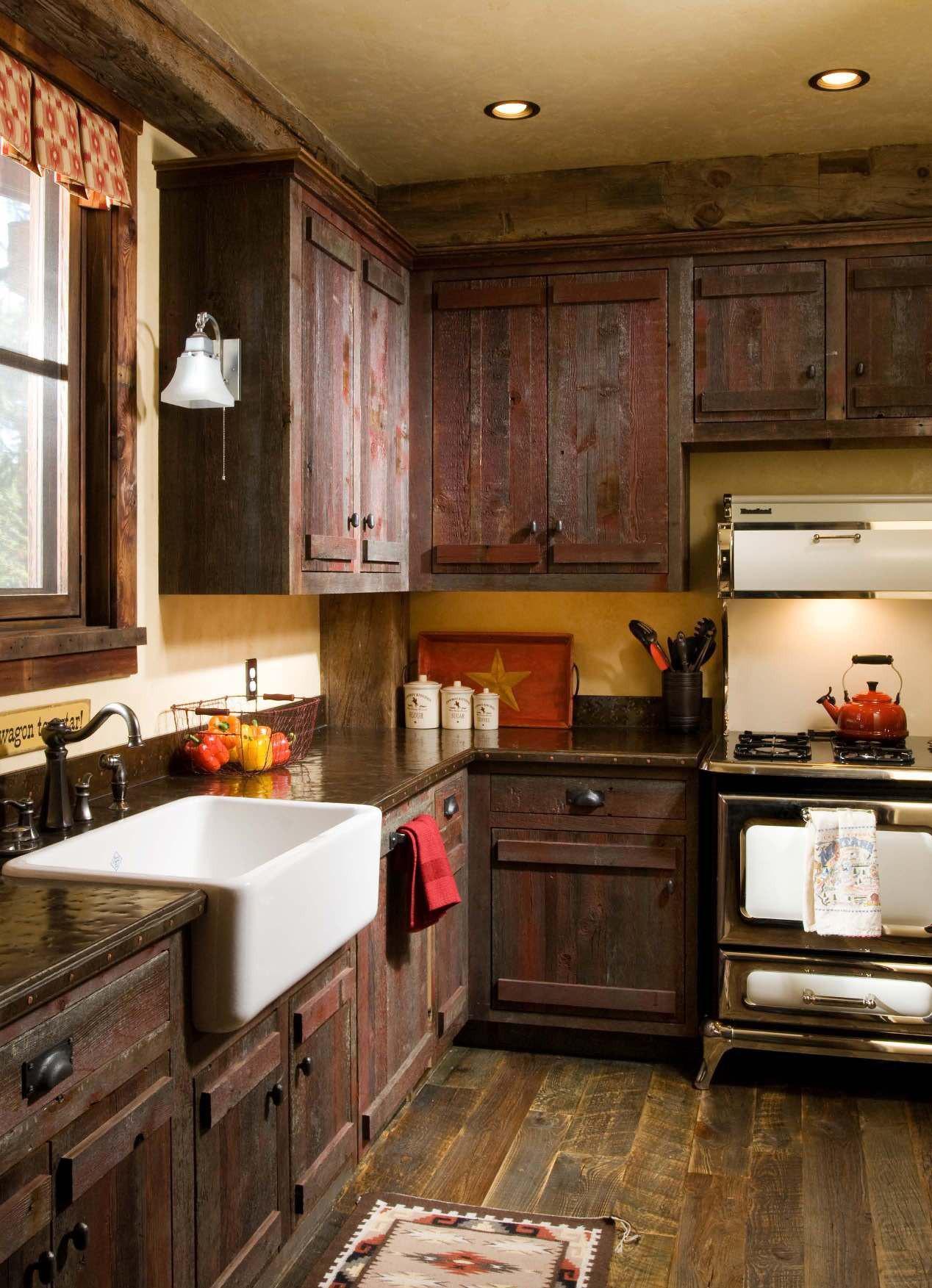 Необычные материалы для кухни в стиле рустик