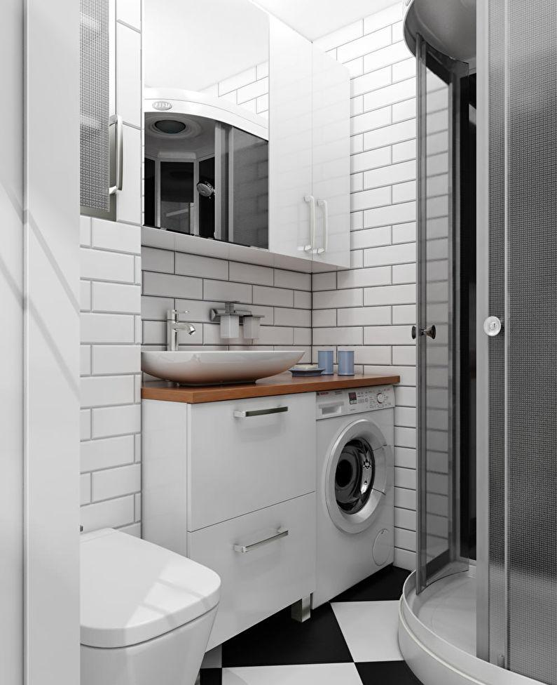 Маленькая ванная комната со стиральной машинкой