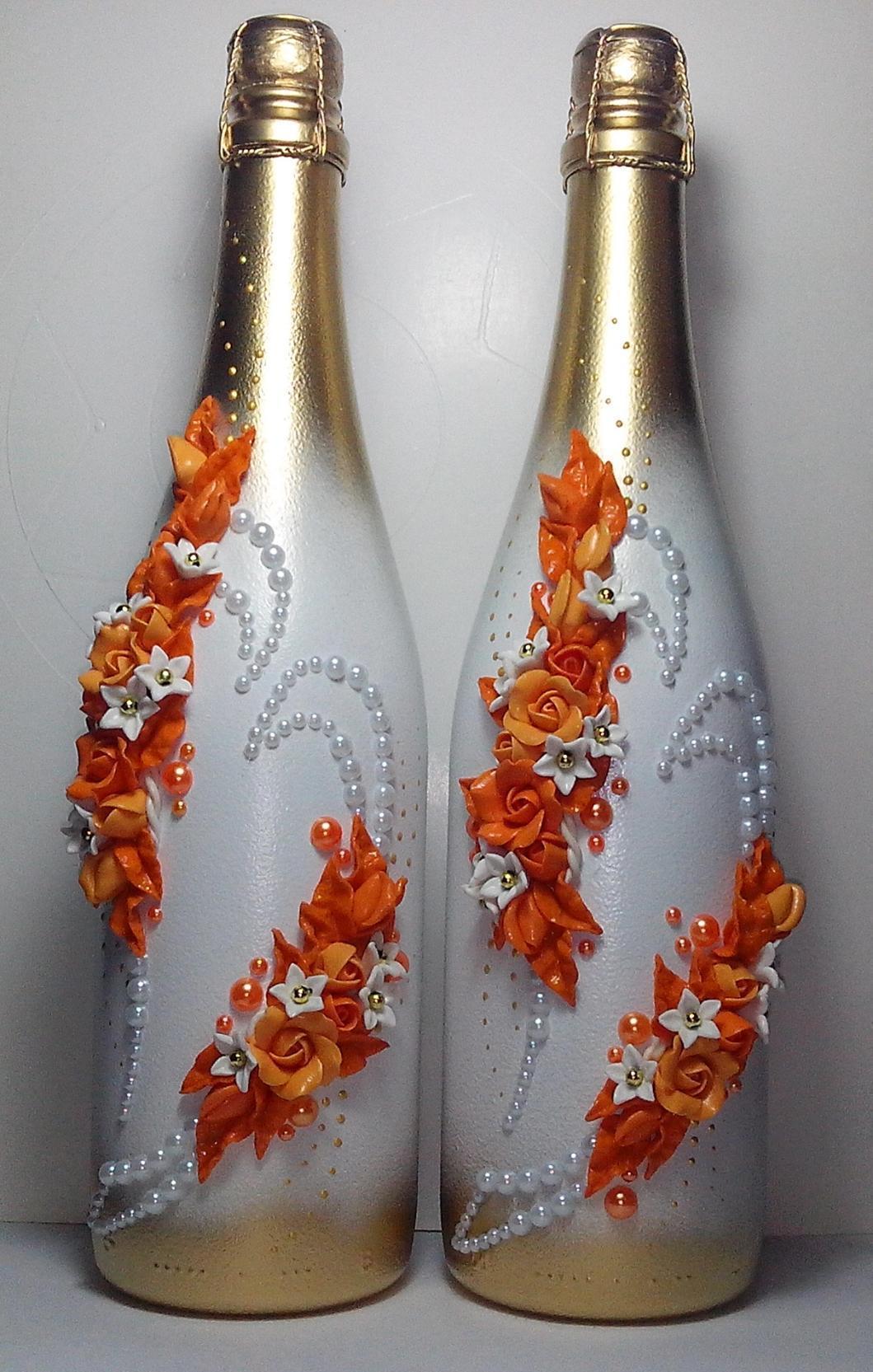 Декупаж бутылки шампанского бусинами