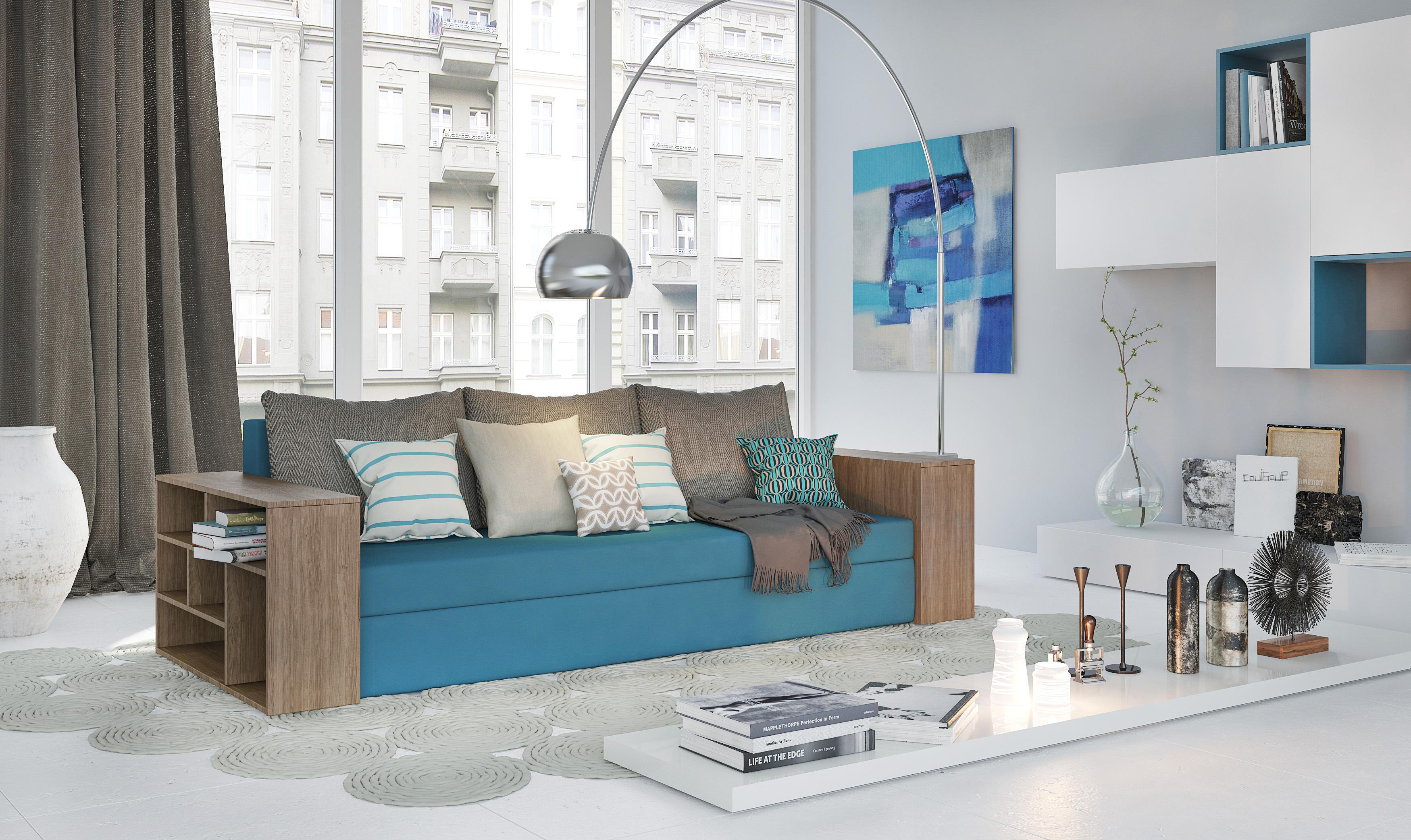 Выкатной диван с полками
