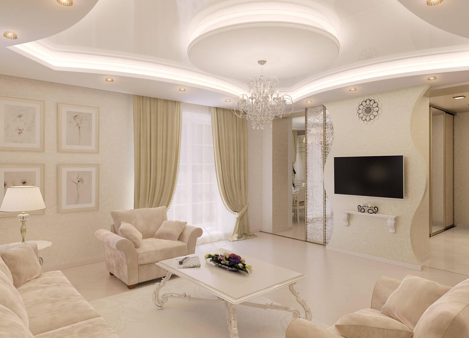 Классическая гостиная в бежево-белых тонах