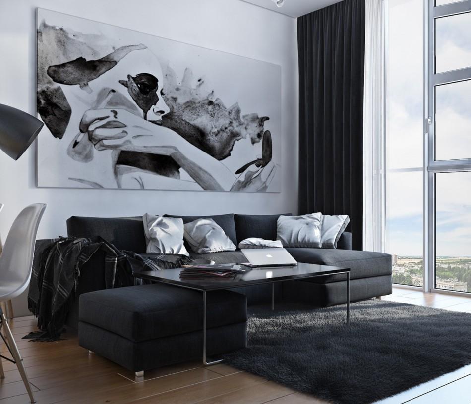 Черно-белая мебель в картина в гостиной