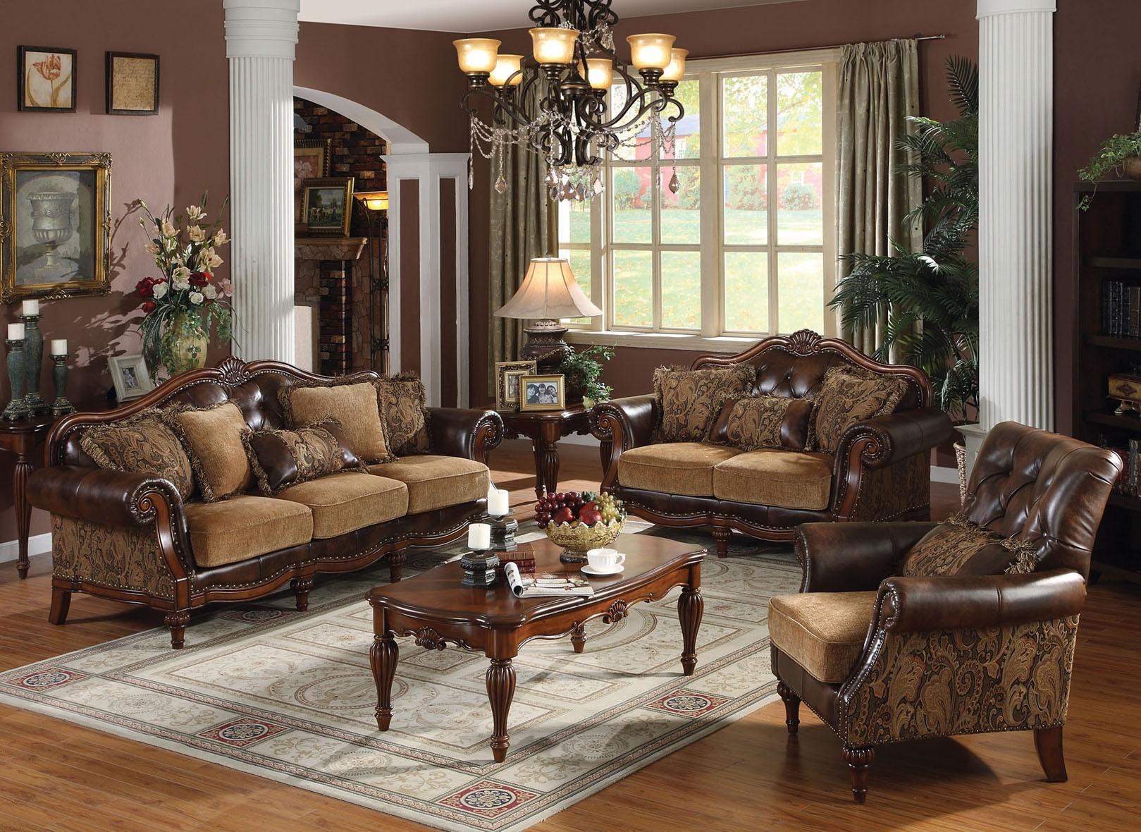Классическая гостиная в коричневых тонах