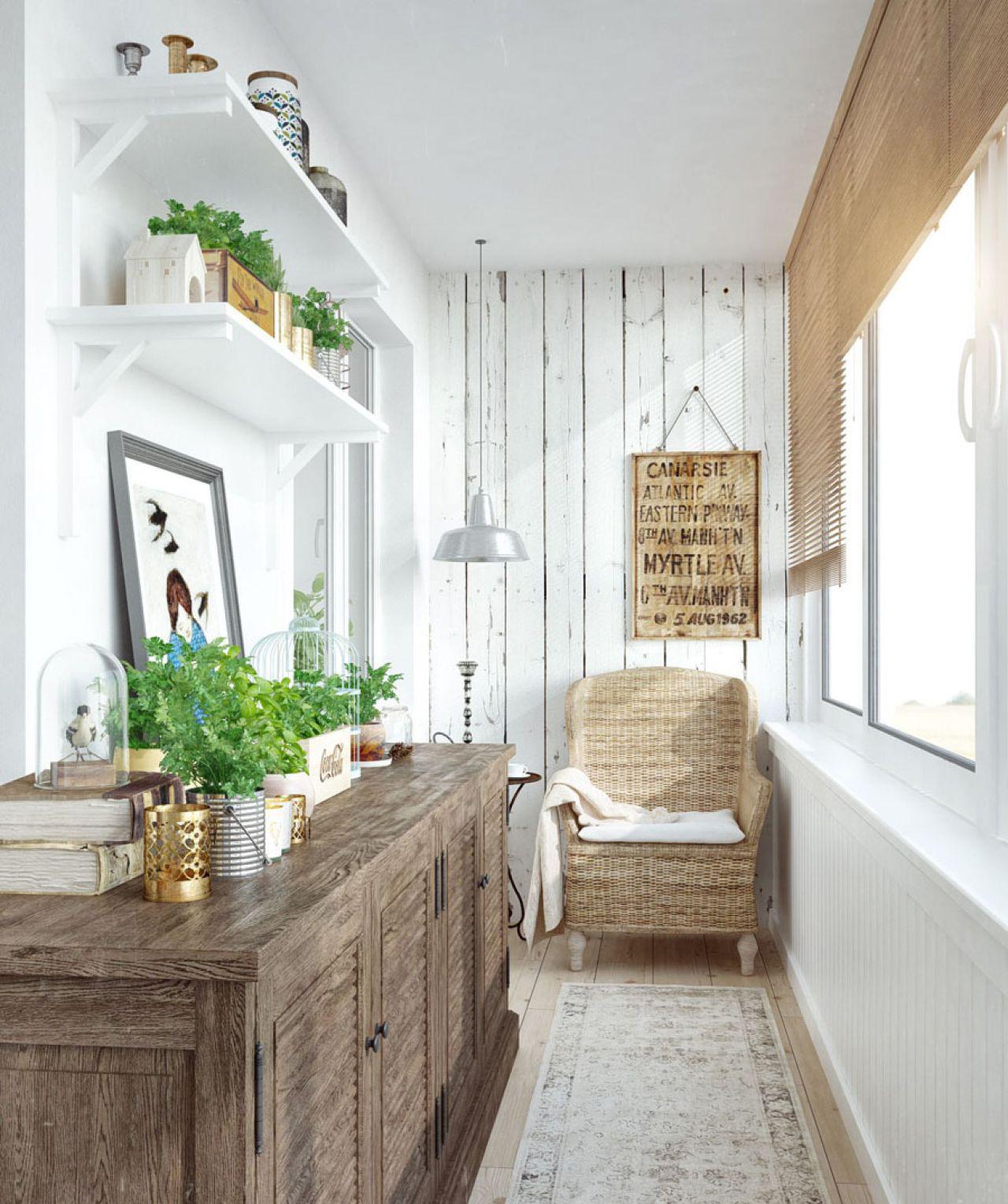 Оформления балкона полками, мебелью и растениями