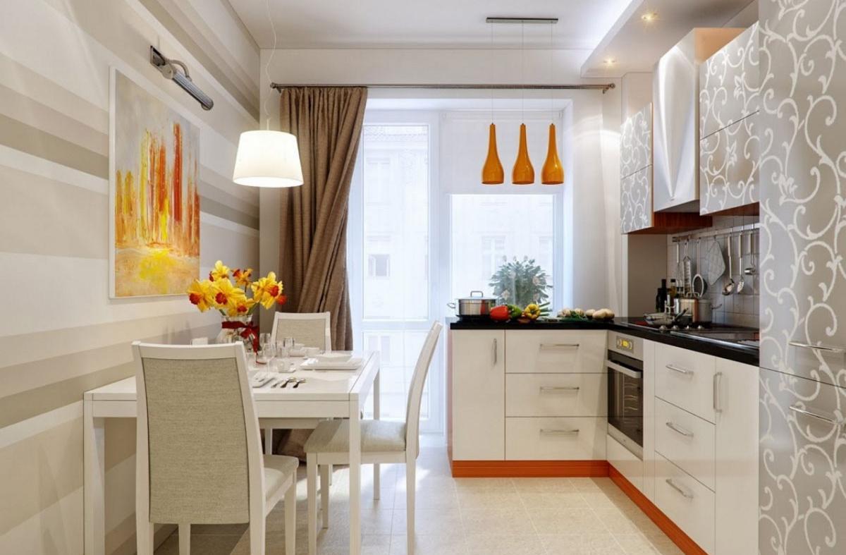 Бело-серая кухня с оранжевыми акцентами