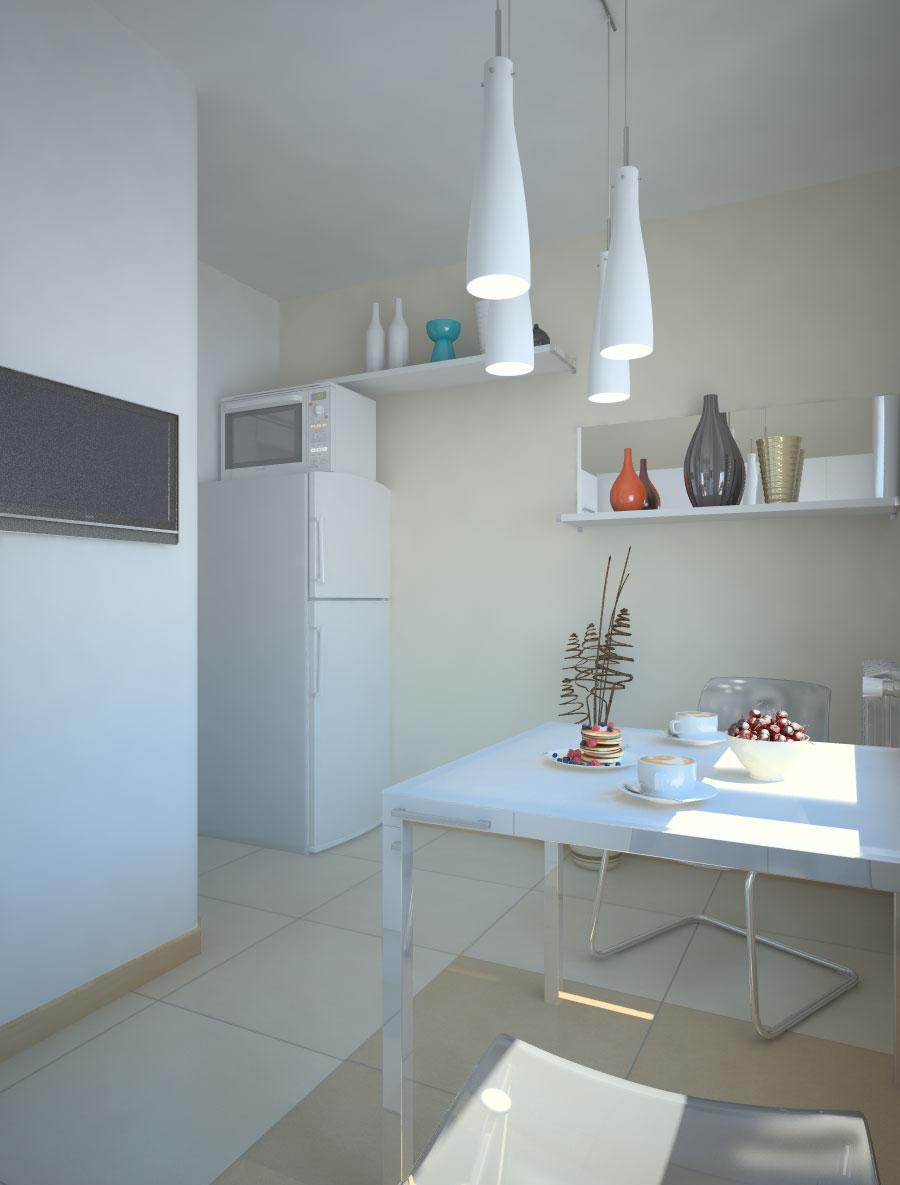 Бело-бежевая современная кухня