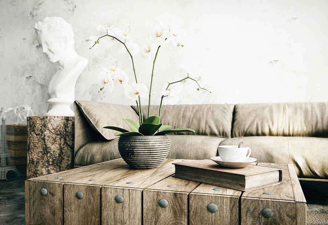 Мебель в светлой гостиной в стиле рустик