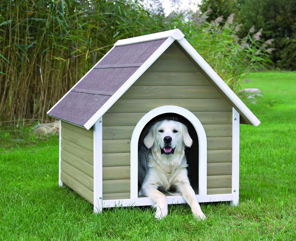 Будка для собаки с двухскатной крышей