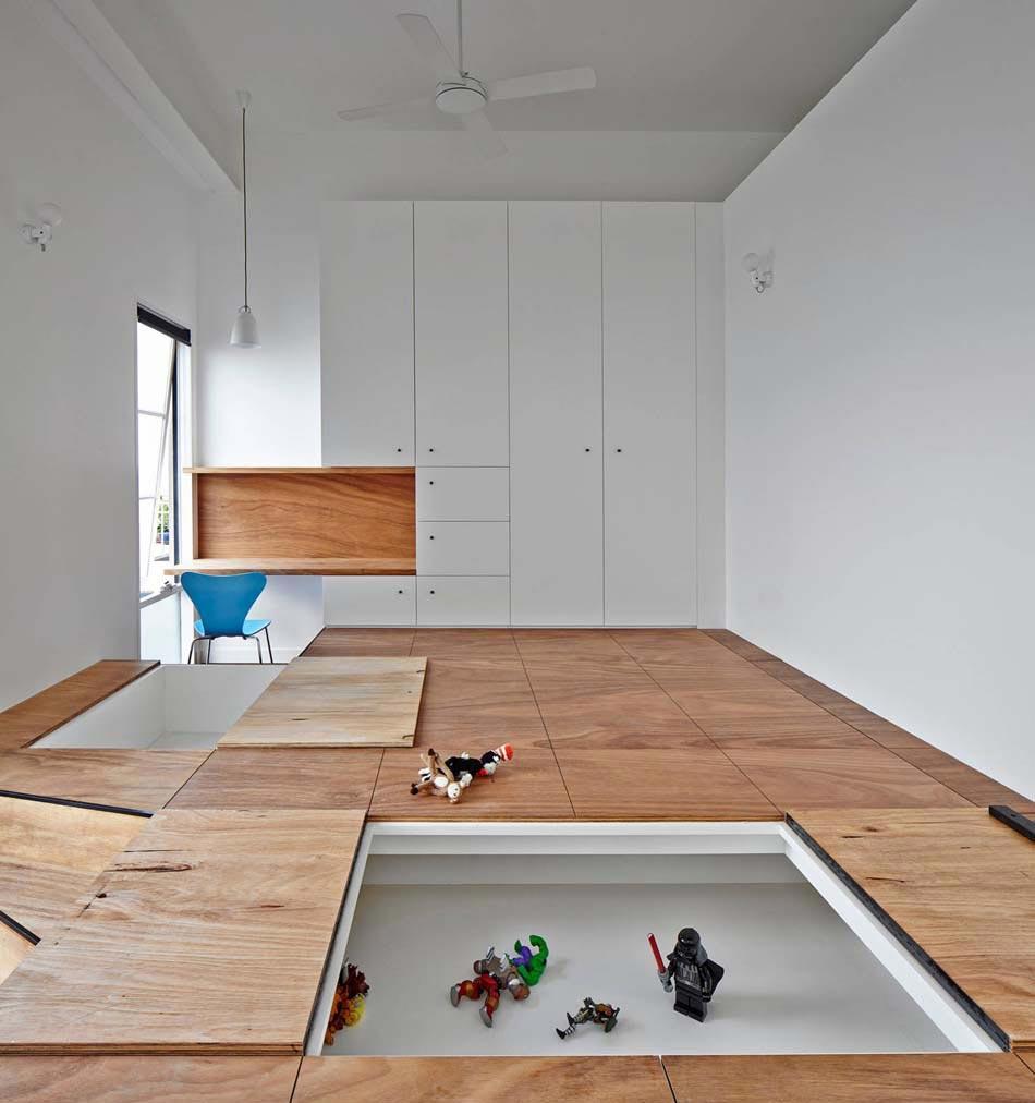 Эконом дизайн детской комнаты с подиумом