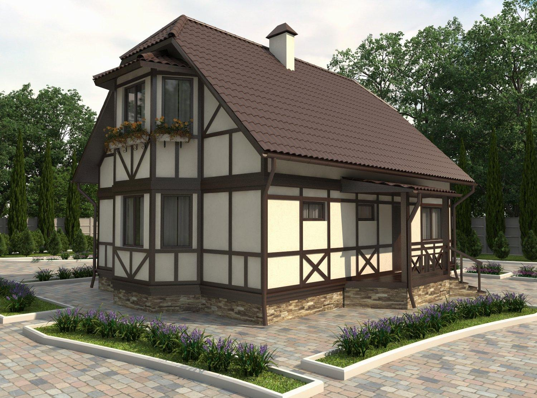 Красивый фасад дома в немецком стиле