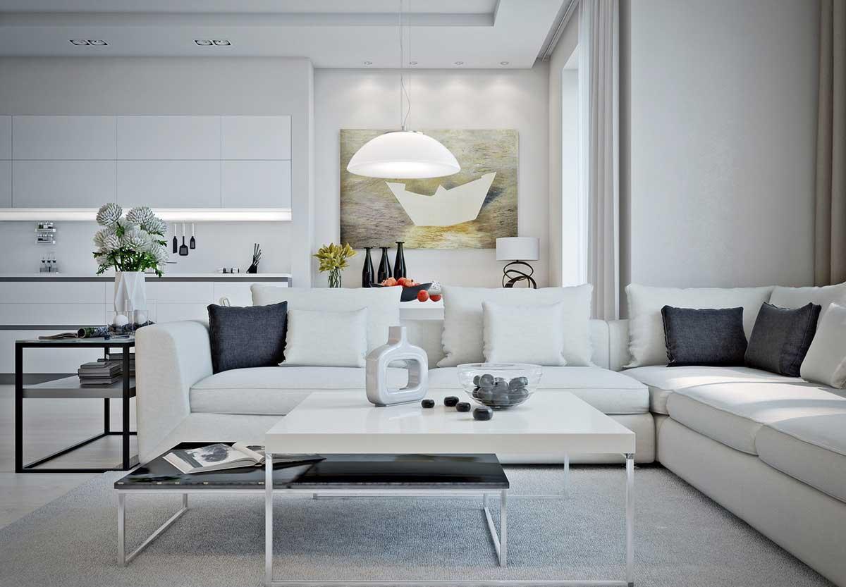 Черно-белая совмещенная гостиная-кухня