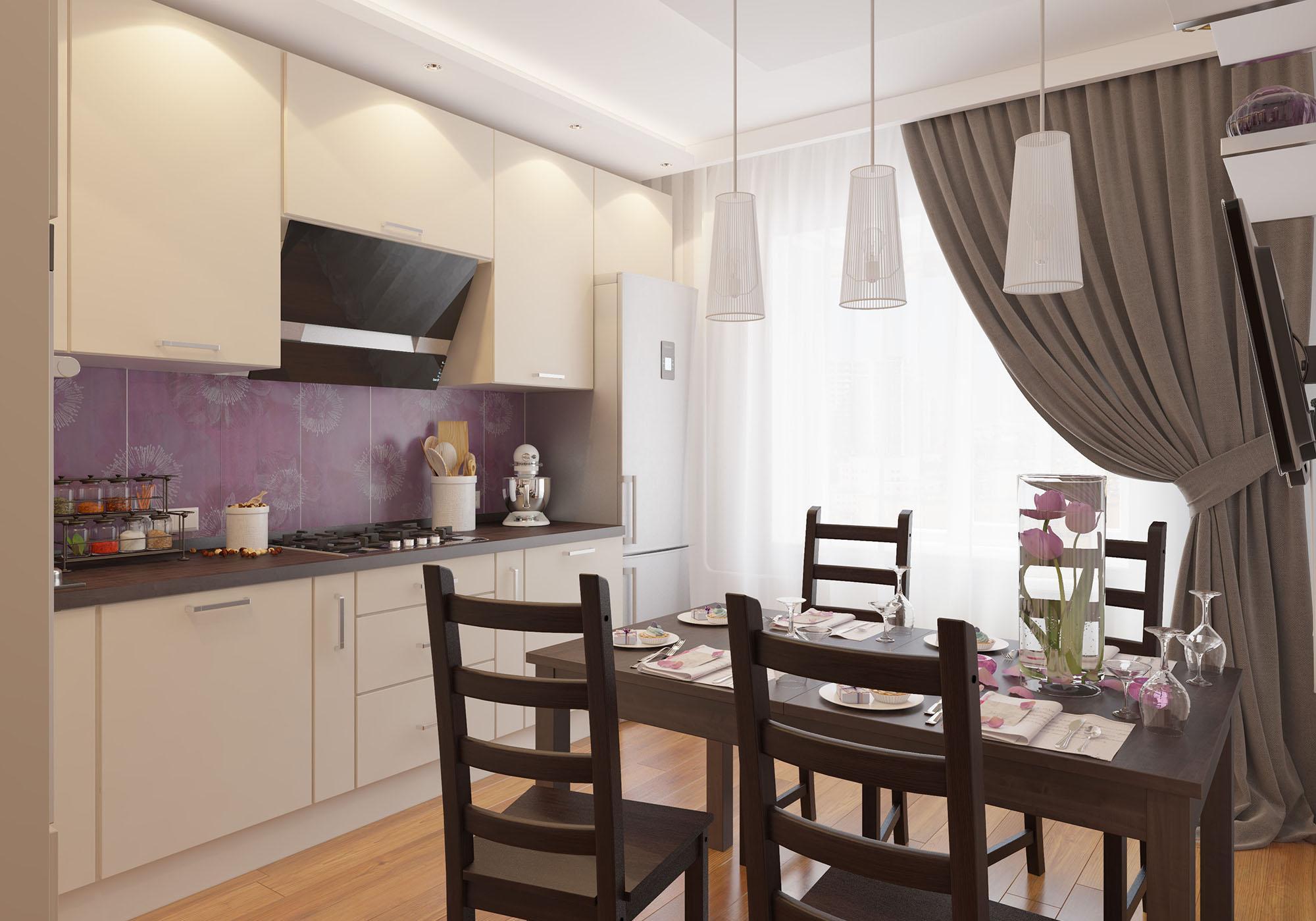 Коричнево-бежевая кухня с фиолетовым акцентом