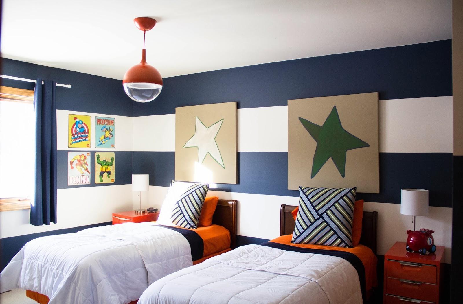 Дизайн детской комнаты для двух мальчиков в полоску