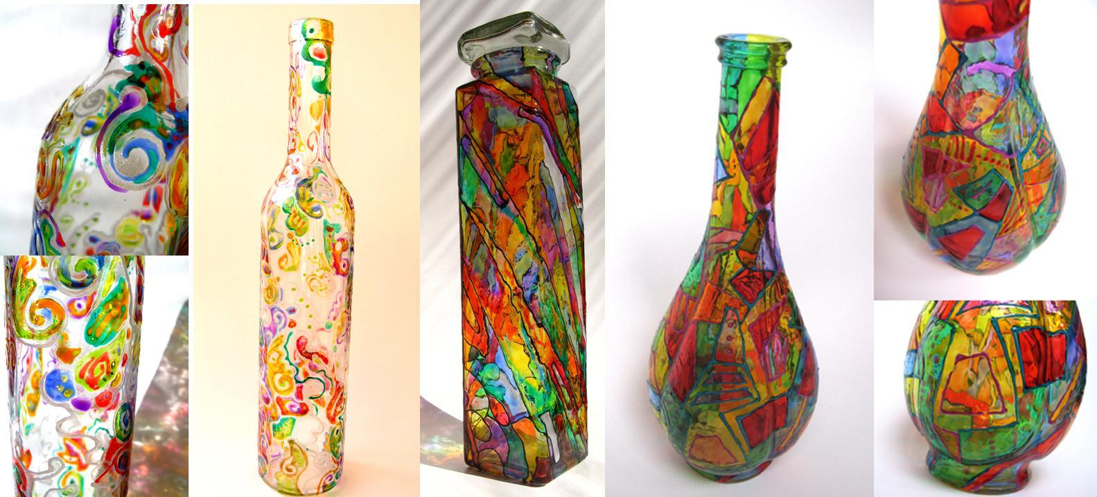 Декор бутылок витражной краской