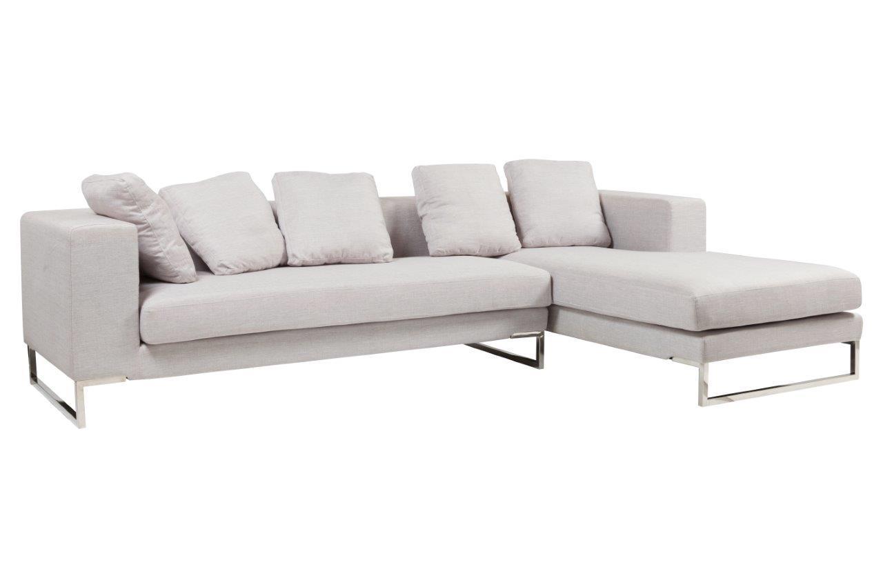 Белый модульный диван с оттоманкой