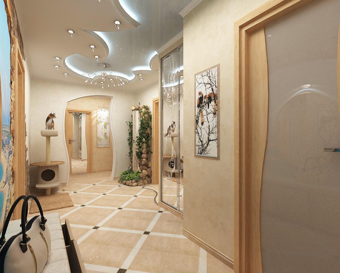Дизайн коридора с аркой из гипсокартона