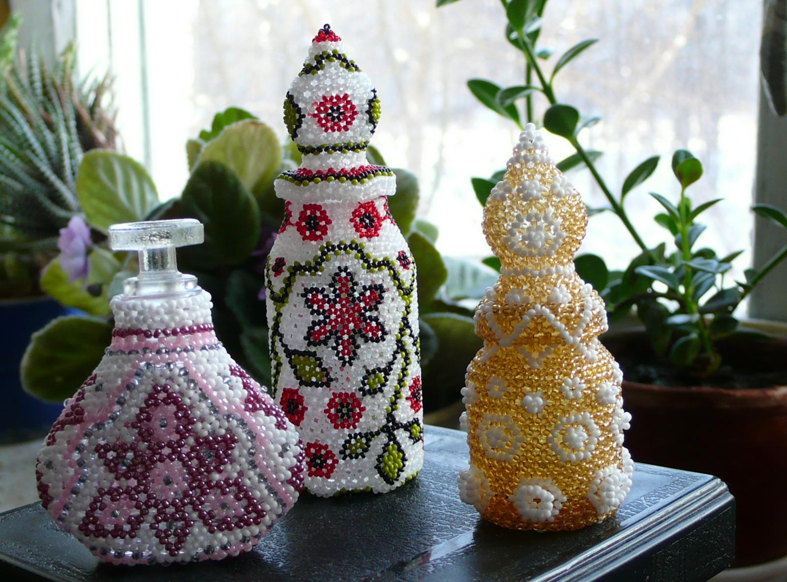 Бутылки, обшитые бисером