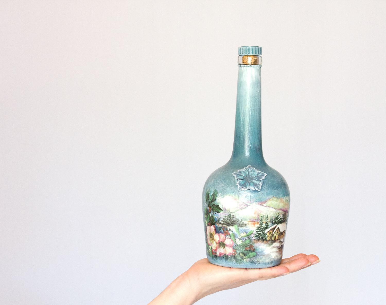 Декупаж бутылки шампанского с лепниной