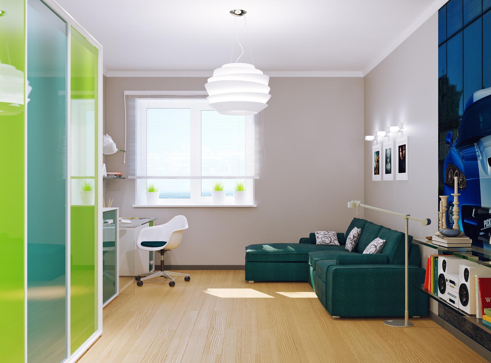 Контрастный дизайн комнаты для подростка