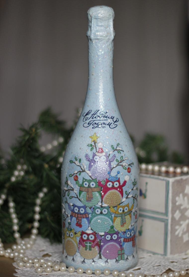 Декупаж бутылки шампанского на новый год с совами