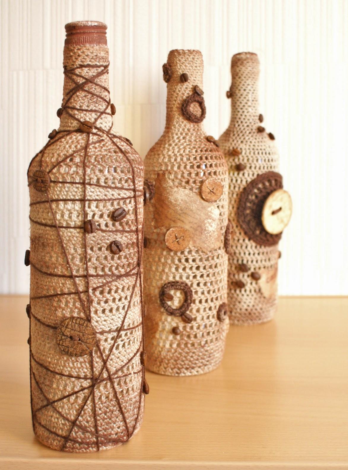 Украшение бутылок для обновления интерьера