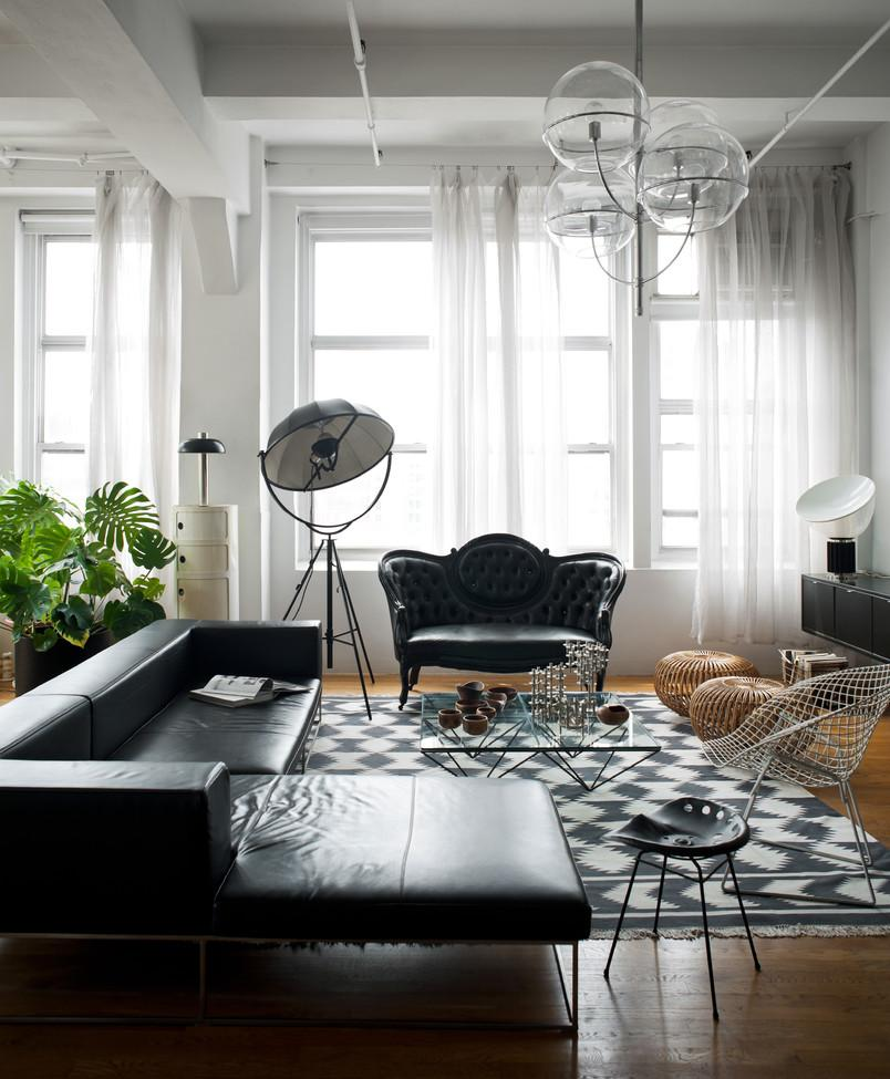 Черно-белая гостиная в стиле модерн