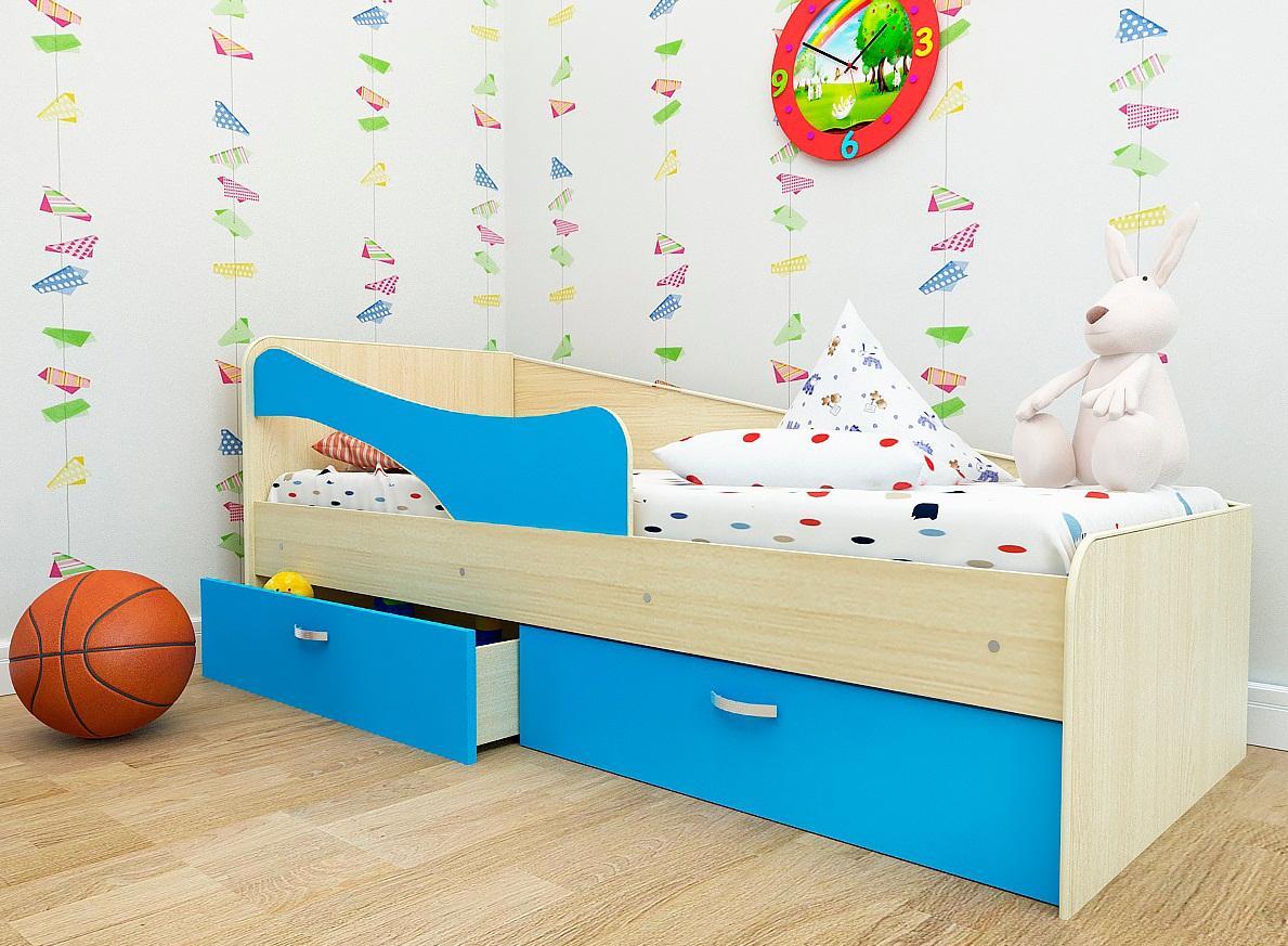Детская кровать с бортиками и выдвижными ящиками