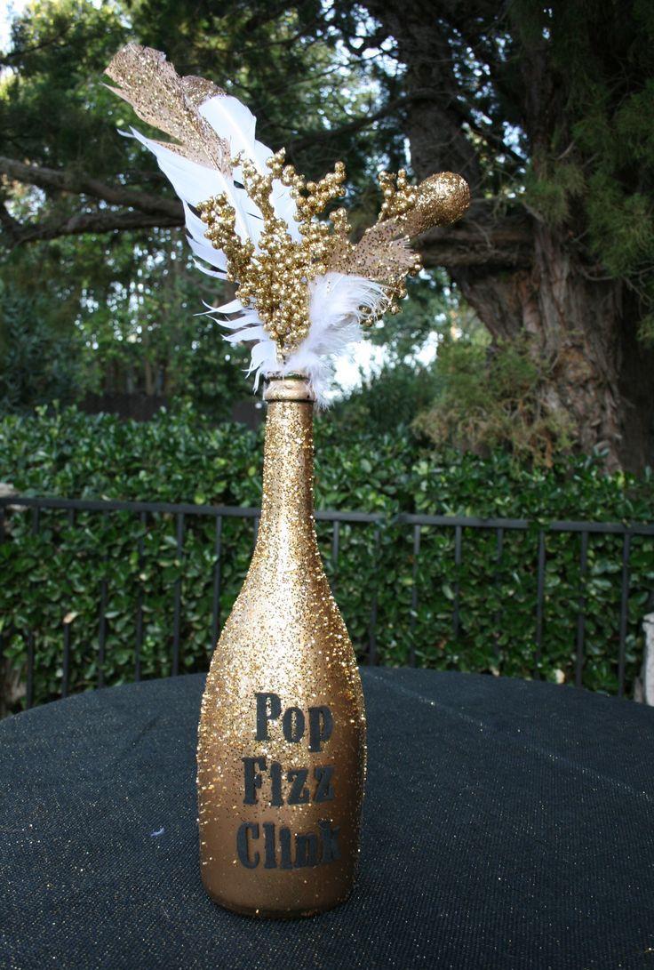 Декупаж бутылки шампанского для новогоднего декора