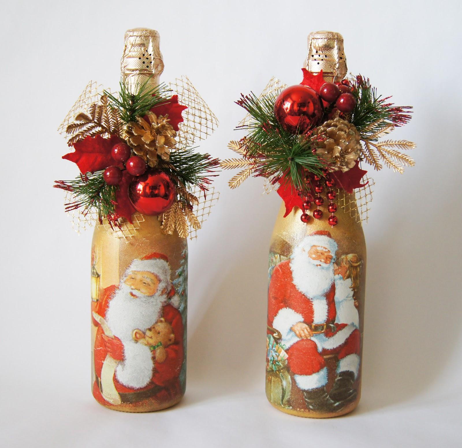 Яркий декор бутылок на Новый год