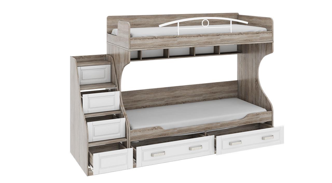 Серая двухъярусная кровать с ящиками
