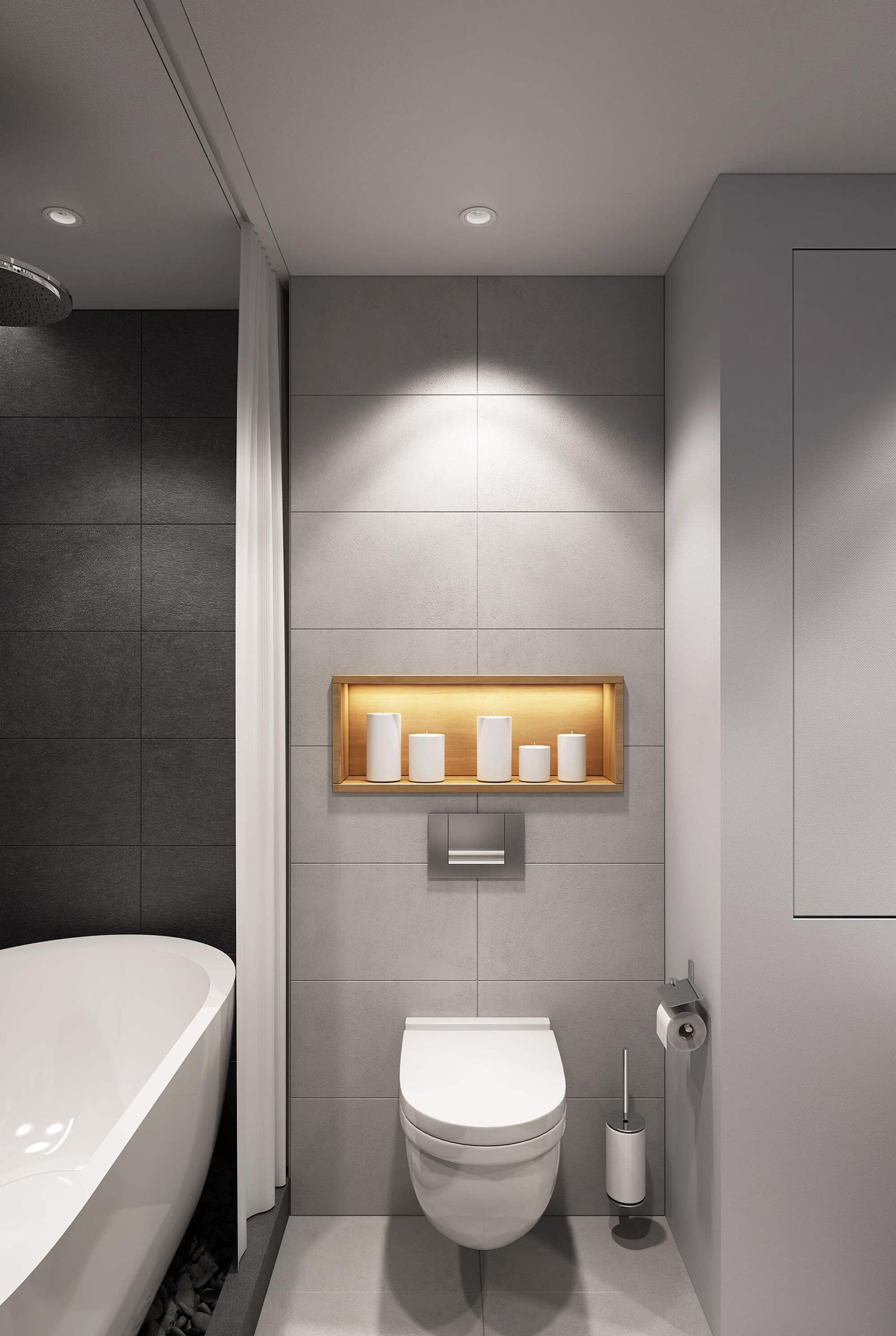 Черный, серый и белый цвета в интерьере ванной