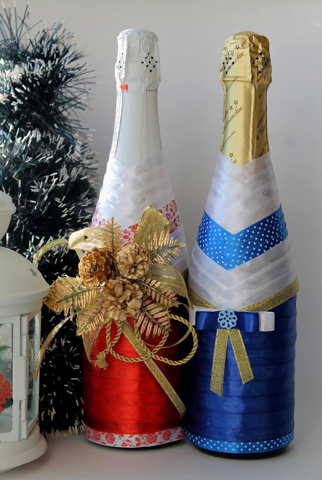 Новогоднее оформление бутылок