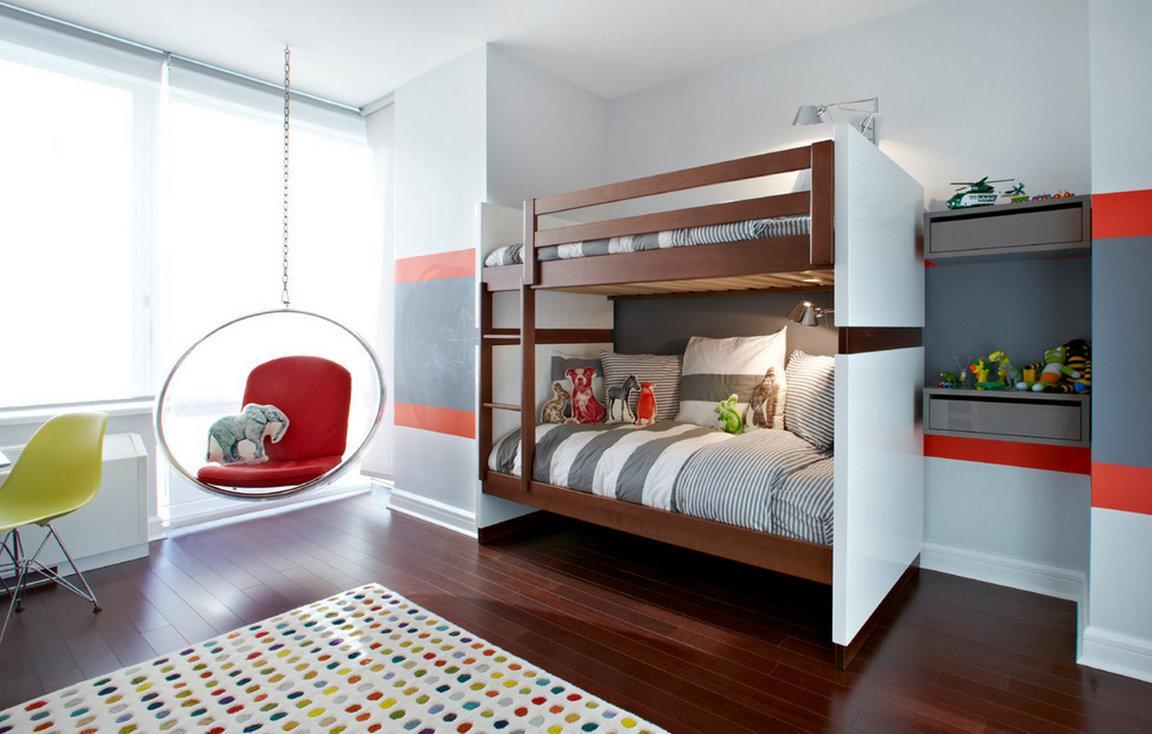 Дизайн детской комнаты для двух мальчиков с креслом
